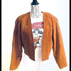 Vintage Cropped Riding Jacket Tan Suede Size Med